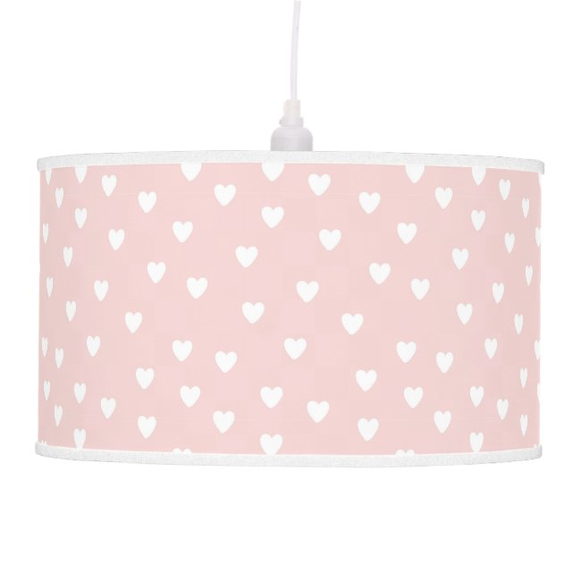 Blush Pink with White Hearts | Kids or Nursery