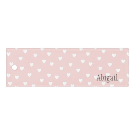 Blush Pink with White Hearts Personalized Ruler