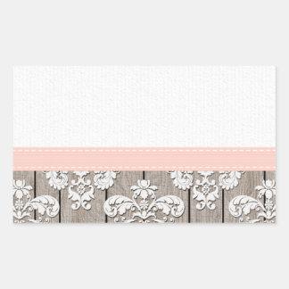 Blush Pink Wood Lace Rustic Rectangular Sticker