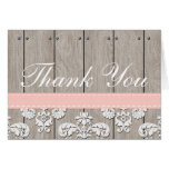 Blush Pink Wood Lace Rustic Thank You Stationery Note Card