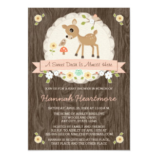 BLUSH PINK WOODLAND DEER BABY SHOWER CARD