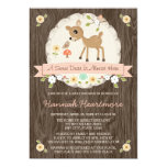 BLUSH PINK WOODLAND DEER BABY SHOWER 5X7 PAPER INVITATION CARD
