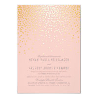 Blush Pinks and Gold Confetti Vintage Wedding Card