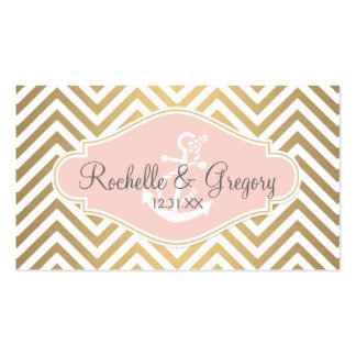Blush Preppy Chevron Stripe Modern Nautical Anchor Double-Sided Standard Business Cards (Pack Of 100)