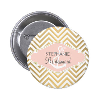 Blush Preppy Chevron Stripe Modern Nautical Anchor Button