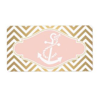 Blush Preppy Chevron Stripe Modern Nautical Anchor Label