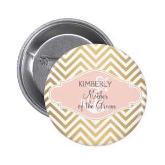 Blush Preppy Chevron Stripe Modern Nautical Anchor Pinback Button