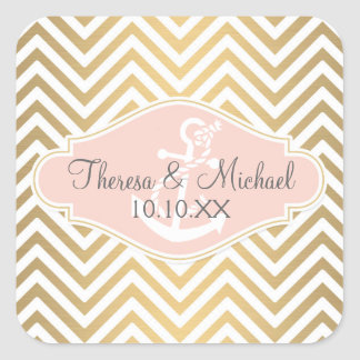 Blush Preppy Chevron Stripe Modern Nautical Anchor Square Sticker