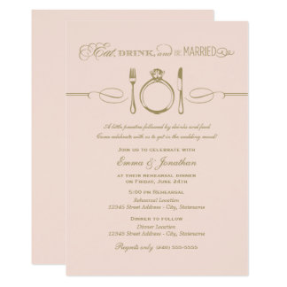 Blush Rehearsal Dinner | Eat Drink and Be Married Card
