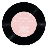 Blush Retro Vinyl Record Wedding Invitation