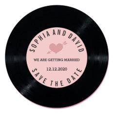 Blush Retro Vinyl Record Wedding Save The Date Card at Zazzle