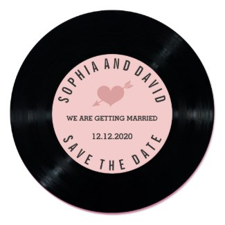 Blush Retro Vinyl Record Wedding SAVE THE DATE Card