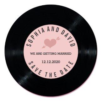 Blush Retro Vinyl Record Wedding SAVE THE DATE Card