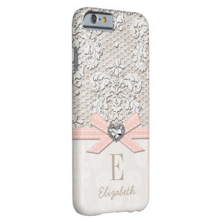Blush Rhinestone Heart Look Printed Lace and Bow Barely There iPhone 6 Case