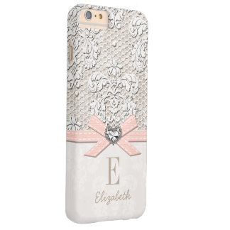 Blush Rhinestone Heart Look Printed Lace and Bow Barely There iPhone 6 Plus Case