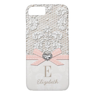 Blush Rhinestone Heart Look Printed Lace and Bow iPhone 7 Case