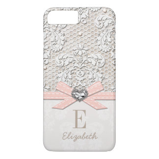 Blush Rhinestone Heart Look Printed Lace and Bow iPhone 7 Plus Case