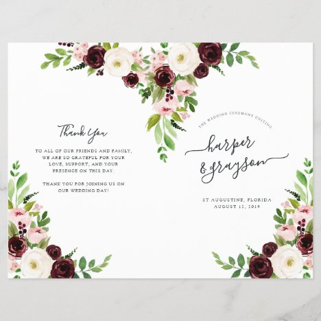 Blush Romance Folded Wedding Program