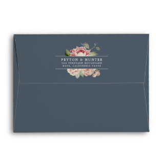 Blush Rose | Dusty Blue Floral Return Address Envelope