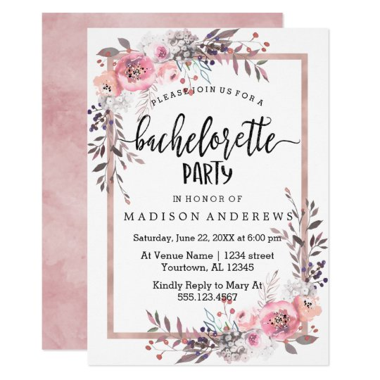 blush rose gold bachelorette party invitation zazzle com