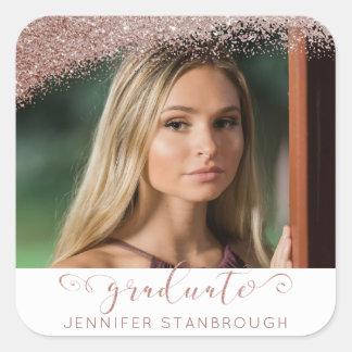 Blush & Rose Gold Elegant Script Graduate Photo Square Sticker