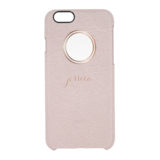 Blush Rose Gold Faux Visual Texture Personalized Clear iPhone 6/6S Case