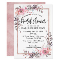 Blush & Rose Gold Framed Bridal Shower Invitation