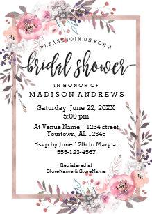 blush rose gold framed bridal shower invitation