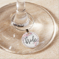 Blush & Rose Gold Framed Floral Wedding Bride Wine Glass Charm