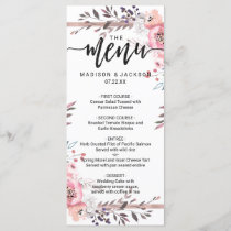 Blush & Rose Gold Framed Floral Wedding Menu
