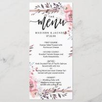Blush & Rose Gold Framed Floral Wedding Menu