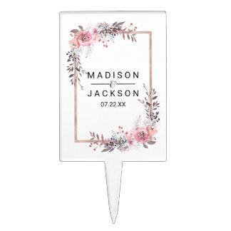 Blush & Rose Gold Framed Floral Wedding Monogram Cake Topper