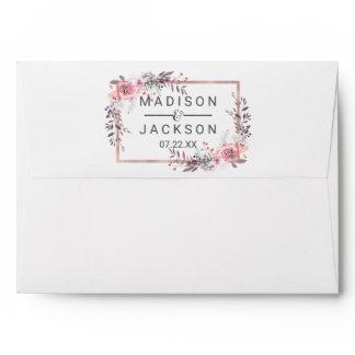 Blush & Rose Gold Framed Floral Wedding Monogram Envelope