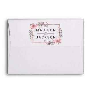 Blush & Rose Gold Framed Floral Wedding Monogram Envelope