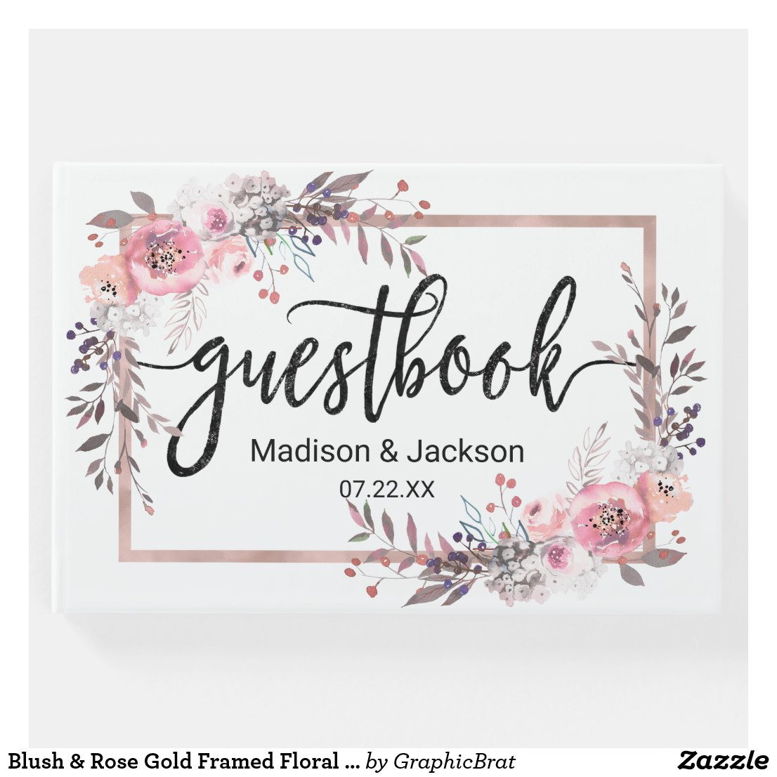 Blush & Rose Gold Framed Floral Wedding Monogram Guest Book