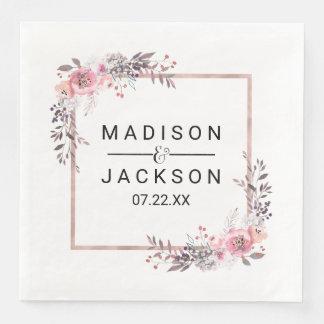Blush & Rose Gold Framed Floral Wedding Monogram Paper Dinner Napkin