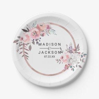 Blush & Rose Gold Framed Floral Wedding Monogram Paper Plate
