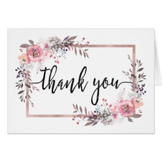 Blush & Rose Gold Framed Floral Wedding Thank You Card