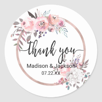 Blush & Rose Gold Framed Watercolor Wedding Favor Classic Round Sticker