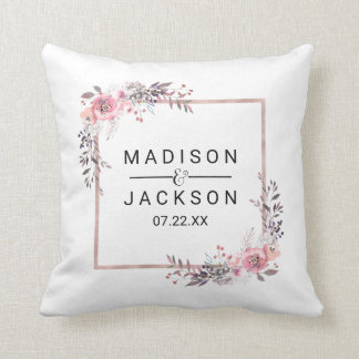 Blush & Rose Gold Framed Watercolor Wedding Ring Throw Pillow