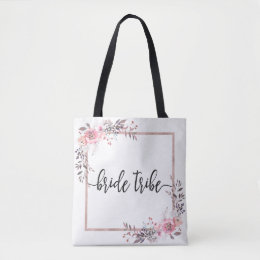 Blush & Rose Gold Framed Wedding Bride Tribe Tote Bag