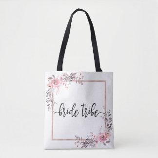 Blush & Rose Gold Framed Wedding Bride Tribe Tote Bag