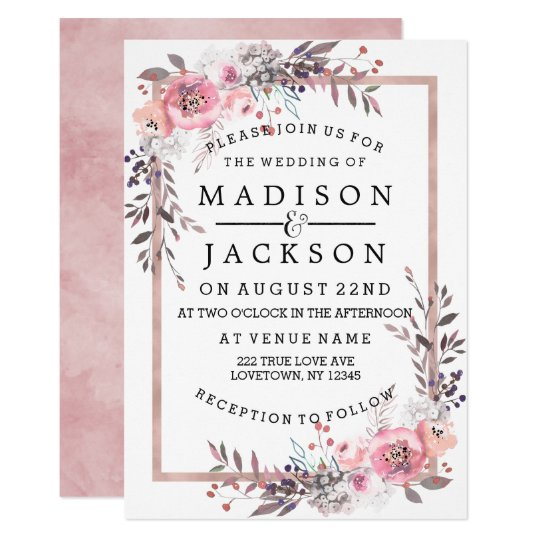 Wedding Invitations Rose: Blush & Rose Gold Framed Wedding Invitations