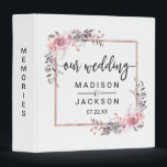 """Blush &amp; Rose Gold Framed Wedding Photo Album Binder<br><div class=""""desc"""">Blush &amp; Rose Gold Framed Floral Watercolor Wedding Monogram Photo Album With trendy brush script font! ~ Check my shop to see the entire wedding suite for this design!</div>"""