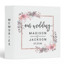 Blush & Rose Gold Framed Wedding Photo Album Binder