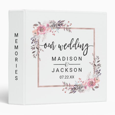 Blush & Rose Gold Framed Wedding Photo Album Binder