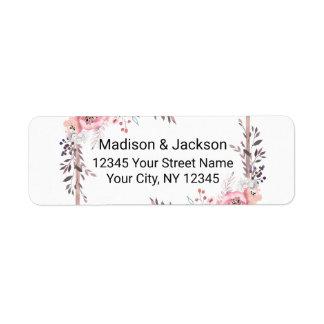 Blush & Rose Gold Framed Wedding Return Address Label