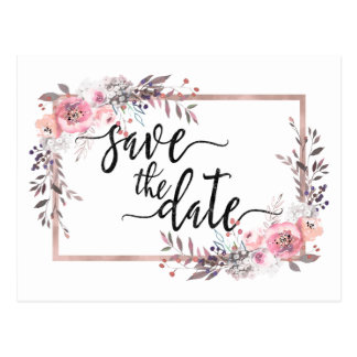 Blush & Rose Gold Framed Wedding Save the Date Postcard