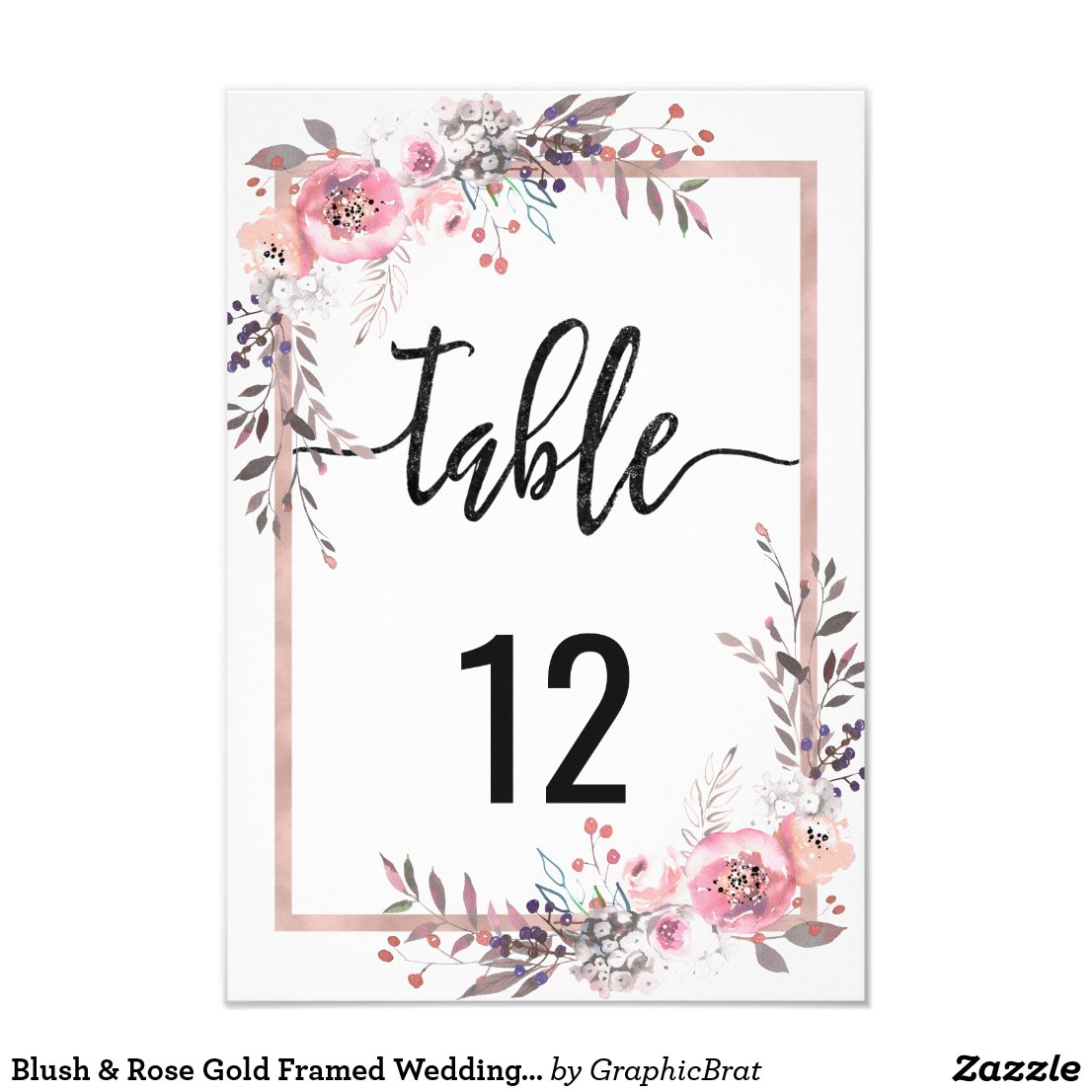 Blush & Rose Gold Framed Wedding Table Numbers