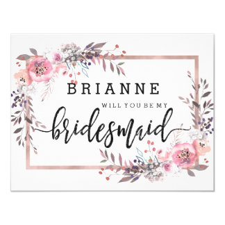 Blush & Rose Gold Framed Will You Be My Bridesmaid Invitation
